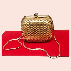 Vintage Early Leiber Gold Metal Minaudiere/ Purse with Honeycomb Cage