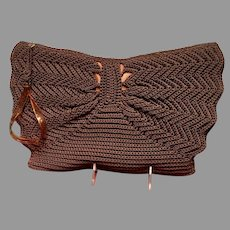 Vintage Huge Crochet Clutch/Handbag with Lucite