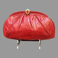 Vintage Red Karung Leiber Purse with Jeweled Clasp