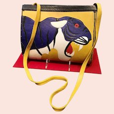 Vintage Mille Fiori Collage Tiger Snakeskin/Leather Shoulder Bag