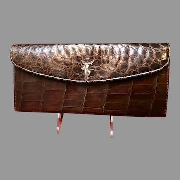 Vintage Alligator Clutch with Cupid Decoration