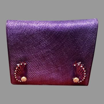 Vintage Valentino Night Purple Woven Purse with Lucite Adornments