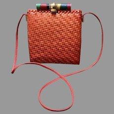 Vintage Rodo Tangerine Colored Wicker Shoulder Bag/Purse with Decorative Rod
