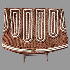 Vintage Telephone Coil Corde Purse Brown and Cream