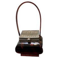 Vintage Rare Tortoise Tiger Stripe Lucite Pagoda Style Handbag