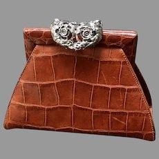 """Vintage Glenn Miller for Ann Turk Embossed Handbag with Ornate  """"Cherub"""" Closure"""