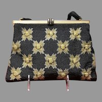 Vintage French Beaded Evening Purse with Gold Accents