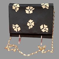 Vintage Valentino Silk Evening Purse with Gold Chain
