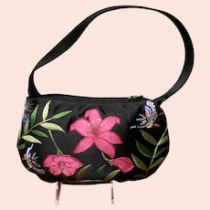 Vintage Natori Embroidered Floral Silk Purse
