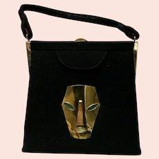 Vintage Handbag with Strange Metal Face Appliqué