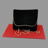 Vintage Stuart Weitzman Suede and Leather Bag with Ball Chains