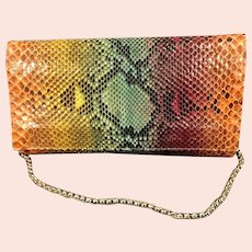 Vintage Anthony Luciano Multi Colored Python Snakeskin Purse