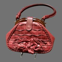 Vintage Anthony Luciano Raspberry Colored Handbag/Purse with Accoutrements