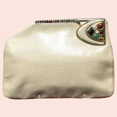 Vintage Judith Leiber Purse with Unusual Clasp and Jeweled Adornment