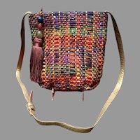 Vintage Sharif Colorful Woven Fabric Purse/Handbag with Decorative Tassels