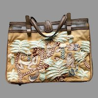Vintage Jamin Puech Funky Monkey Fabric and Leather Embroidered Handbag/Tote
