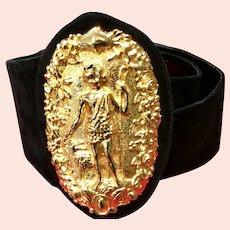 Vintage Leiber Wide Suede Belt with Huge Medallion