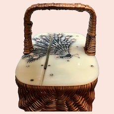 VIntage Suki Original Basket Bag with Hand Painted Lucite Lid