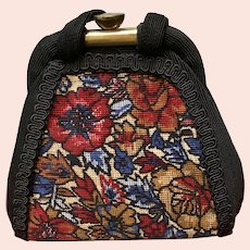 Vintage Corde Purse with Needlepoint