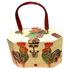 Vintage Hand Painted Gollywog Handbag wIth Roosters