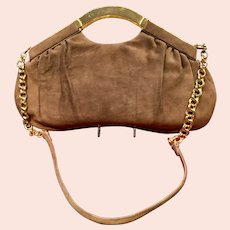 Vintage Leiber Huge Shoulder Bag with Gold tone Embellishments  and Chain