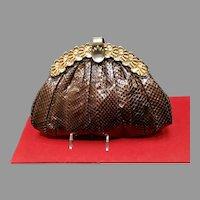 Vintage Python Snakeskin Purse with Jeweled Frame