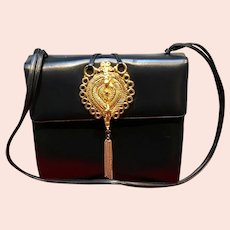 Vintage Judith Leiber Navy Handbag with Outrageous Adornment