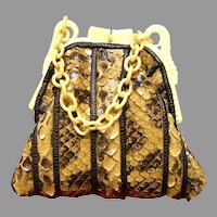 Vintage Grace Agostino Python Purse with Chunky Lucite Frame
