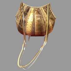 Vintage Early Leiber Python Hobo Python Bag with Silver/ Gold Chains