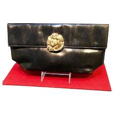 Vintage Leather Purse with Cherub Medallion