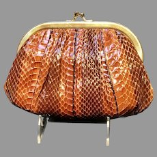 Vintage Classic Python Judith  Leiber Purse with Fluted Frame