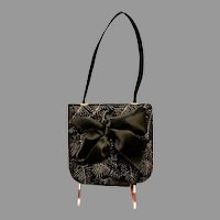 Vintage Pellegrino Black Velvet Purse with Bow