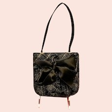 Vintage Pellegrino Black Velvet Purse with Bow