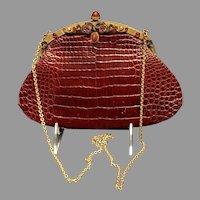 Vintage Jacomo Burgundy Alligator Purse with Jeweled Frame