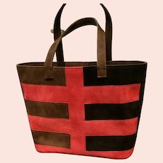 Vintage Renaud Pellegrino Color Block Nubuck Suede Large Bag ***NWOT***