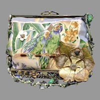 Vintage Mary Frances Handbag with Parrots and Embellishments