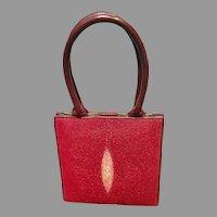 Vintage Red Stingray/Shagreen Purse