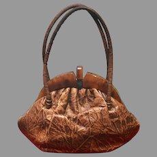 Vintage Vegan Faux Brushed/Burnt Leather Handbag with Thick Plastic Frame