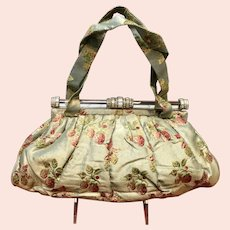 Vintage 1940's Brocade Embroidered Purse with Rhinestone Lucite Frame ***for KATHY***