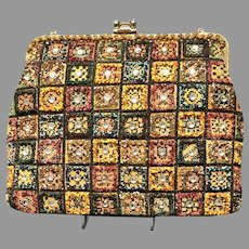 Vintage Soure Huge Colorful Needlepoint Purse/Handbag with Stones and Beading