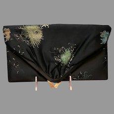 Vintage Rosenfeld Foldover Large Black Silk Floral Purse