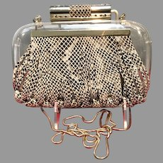 Vintage Katherine Kwai Acrylic Purse with Leather Embellishment
