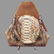 Vintage Anthony Luciano Handbag with Thick Acrylic Frame and Python Skin