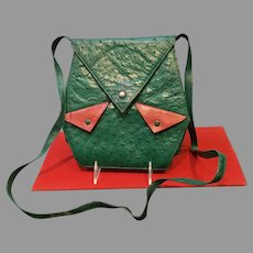 Vintage Luc Benoit Ostrich Shoulder Bag with Lizard Accents