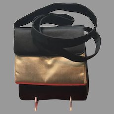 Vintage Unusual Leiber Silk Cross Body Bag with Removable Lame Pouch