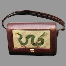 Vintage Faux Leather Purse with Dragon Needlepoint