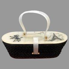 Vintage Suki Originals Basket Bag with Hand Painted Lucite Lid with Rhinestones