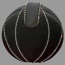 Vintage Barbara Bolan Structural Black Skin Purse with Rhinestones