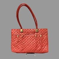 Vintage Leiber Red Python Huge Quilted Tote/Bag/Briefcase with Trapunto