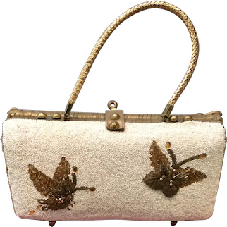 Vintage Midas of Miami Beaded Wicker Handbag with Butterflies